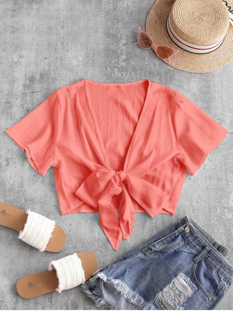 outfits Plunge Tie Front Crop Top - ORANGE PINK 2XL Mobile
