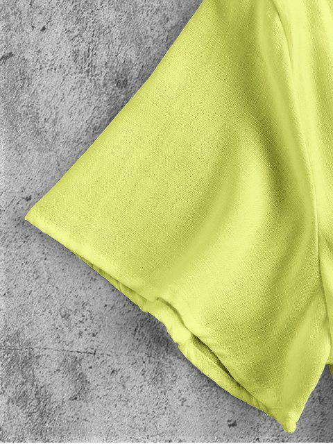 latest Plunge Tie Front Crop Top - TEA GREEN 2XL Mobile