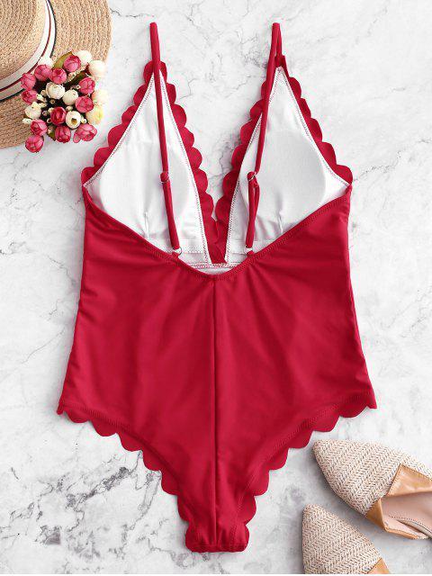 Traje de baño de una pieza sin espalda festoneado y festoneado - Rojo L Mobile