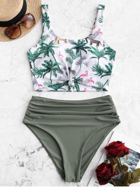ZAFUL Tree Animal Bikini Tankini con control de la panza con nudo Control - Multicolor-A M Mobile