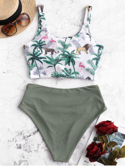 ZAFUL Tree Animal Bikini Tankini con control de la panza con nudo Control - Multicolor-A S Mobile