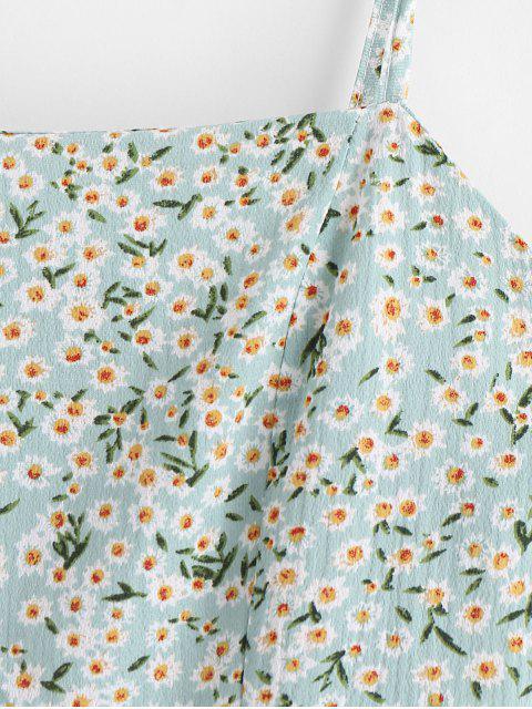 Vestido camisero con estampado floral y espalda descubierta en capas - Verde XL Mobile