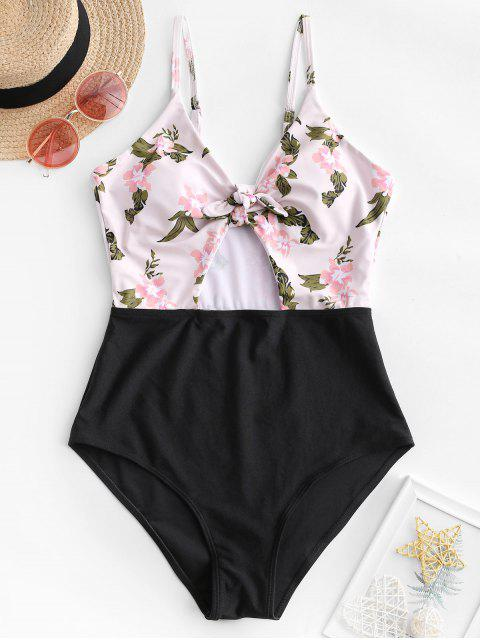 shops ZAFUL Flower Contrast Knotted Cut Out One-piece Swimsuit - MULTI-A M Mobile