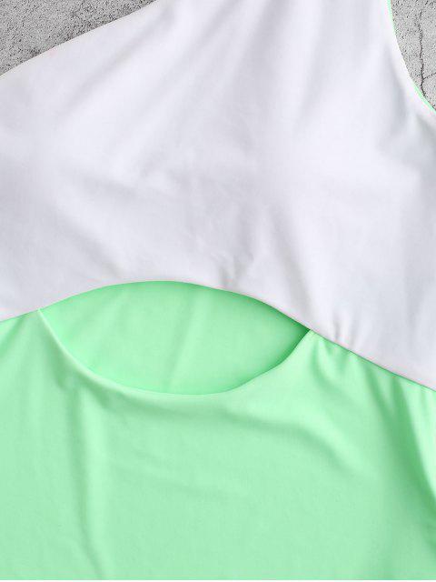 ZAFUL單肩鏤空拼色連體泳衣 - 玉綠 M Mobile