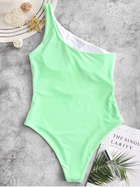 affordable ZAFUL One Shoulder Cutout Color Block One-piece Swimsuit - JADE GREEN M Mobile