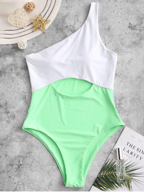 ZAFUL Одно плечо С вырезом Цветной блок Слитный Купальник - Кляча-зеленый L Mobile