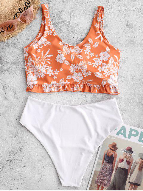 Bañador Tankini con volantes frontales ZAFUL Flower Tie - Sandy Brown XL Mobile