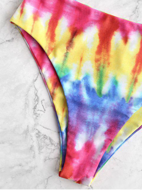 ZAFUL Knot Crisscross Rainbow Tie Dye Tankini traje de baño - Multicolor-B M Mobile
