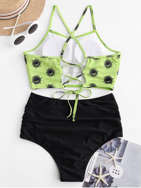Bañador Tankini con control de barriga ZAFUL Sun and Moon Lace Up - Verde Amarillo L Mobile