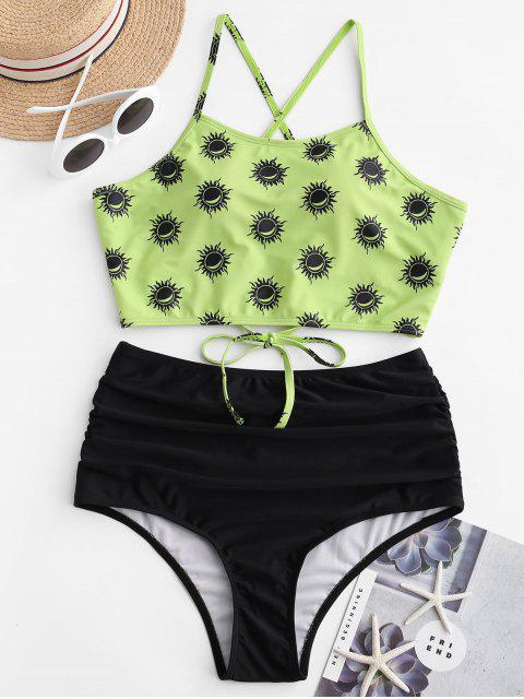 ZAFUL太陽和月亮繫帶肚子控制Tankini泳裝 - 黃綠色 S Mobile