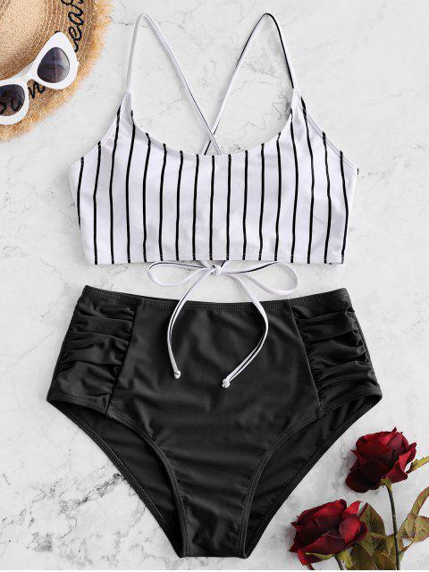 ZAFUL條紋繫帶褶飾Tankini泳衣 - 黑色 S Mobile