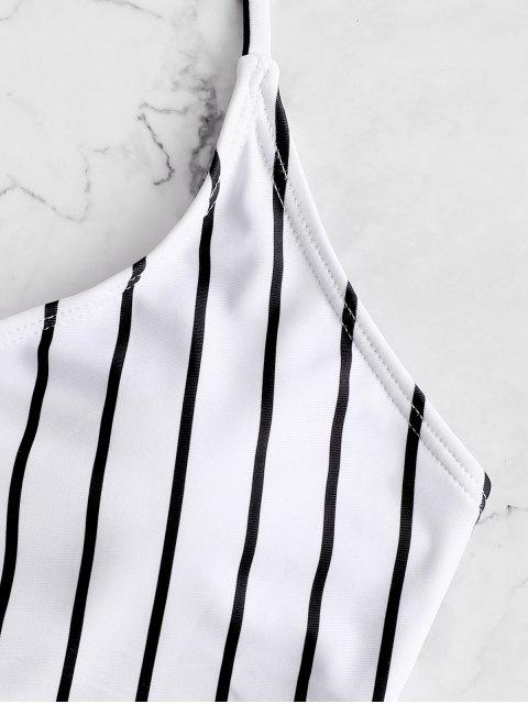 ZAFUL條紋繫帶褶飾Tankini泳衣 - 黑色 M Mobile