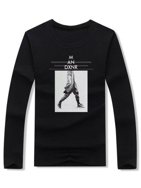 行走男士條紋字母圖案印花T卹 - 黑色 XL Mobile