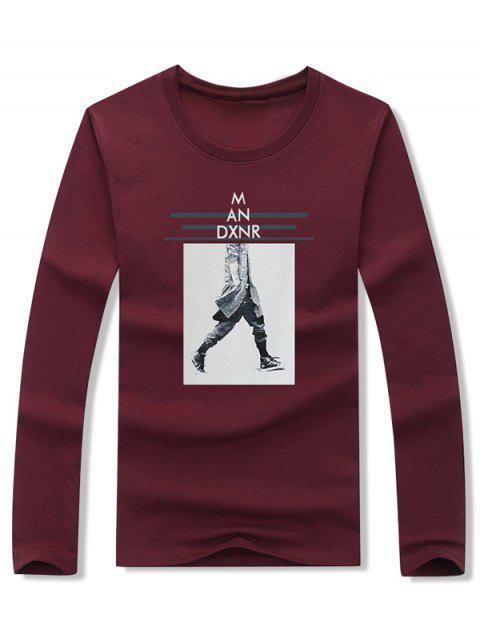 Walking Men Stripes Letter camiseta estampada gráfica - Vino Tinto XL Mobile