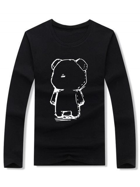 抽象卡通熊繪圖打印長袖T卹 - 黑色 L Mobile
