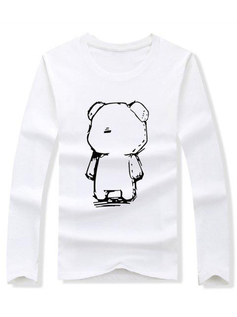 Abstract Cartoon Bear Drawing Print camiseta de manga larga - Blanco S Mobile