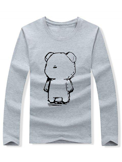 Abstract Cartoon Bear Drawing Print camiseta de manga larga - Gris M Mobile