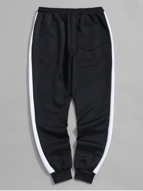 buy Color Block Panel Applique Sport Jogger Pants - BLACK M Mobile