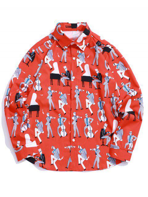 fashion Playing Music Men Print Long Sleeve Casual Shirt - RUBY RED 2XL Mobile