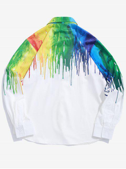 La pintura de color salpicadura de la camisa de la impresión de manga larga - Blanco M Mobile