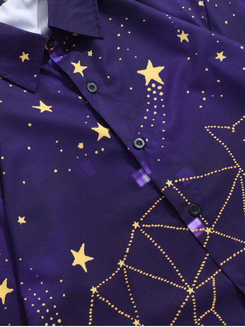 outfits Galaxy Star Animal Design Print Long Sleeve Button Shirt - PURPLE IRIS 2XL Mobile