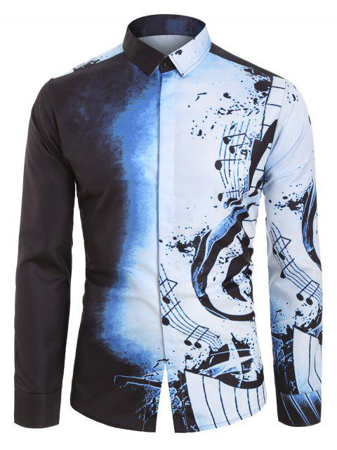 Camisa de Manga Larga con Estampado deNota musical - Niebla Azul 2XL Mobile