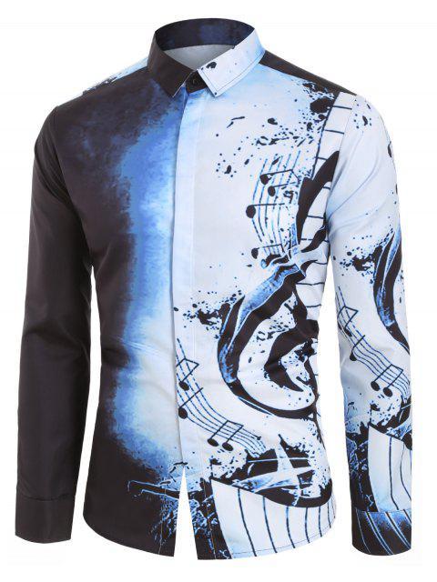 Camicia Casuale a Maniche Lunghe con Stampa Note Musicali - Blu Miste 2XL Mobile