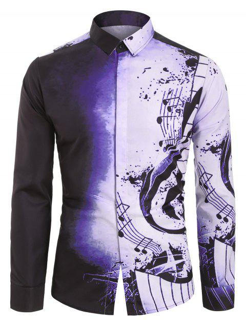 unique Musical Note Pattern Casual Long Sleeves Shirt - VIOLA PURPLE M Mobile