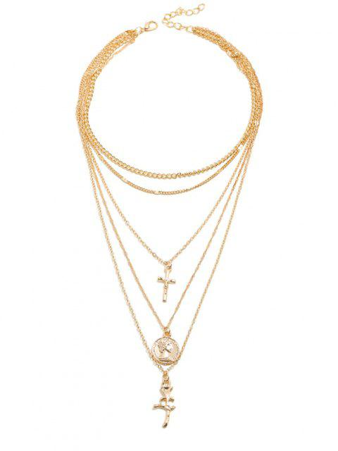 outfit Flower Crucifix Layered Necklace - GOLD  Mobile