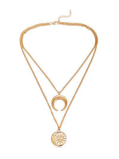 Halbmond- Sonne- Anhänger- Halskette - Golden