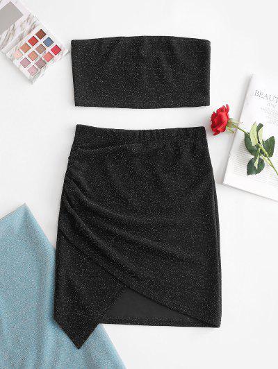 ZAFUL Glitter Strapless Asymmetrical Skirt Set - Black M
