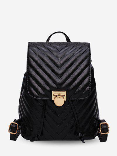 Chevron Quilted Drawstring PU Leather Backpack - Black ...