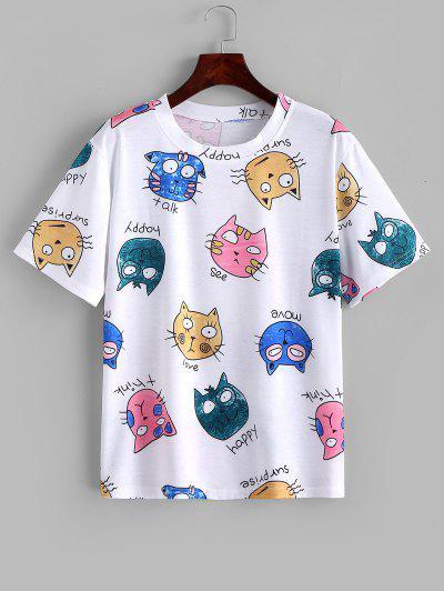 Cute Letter Cat Print Basic T Shirt