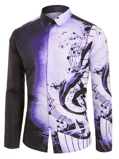 Camisa De Manga Larga Con Estampado DeNota Musical - Púrpura De Viola L