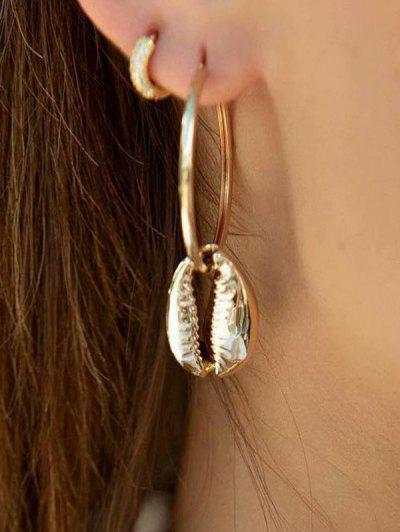 Cowrie Shell Hoop Earrings - Gold