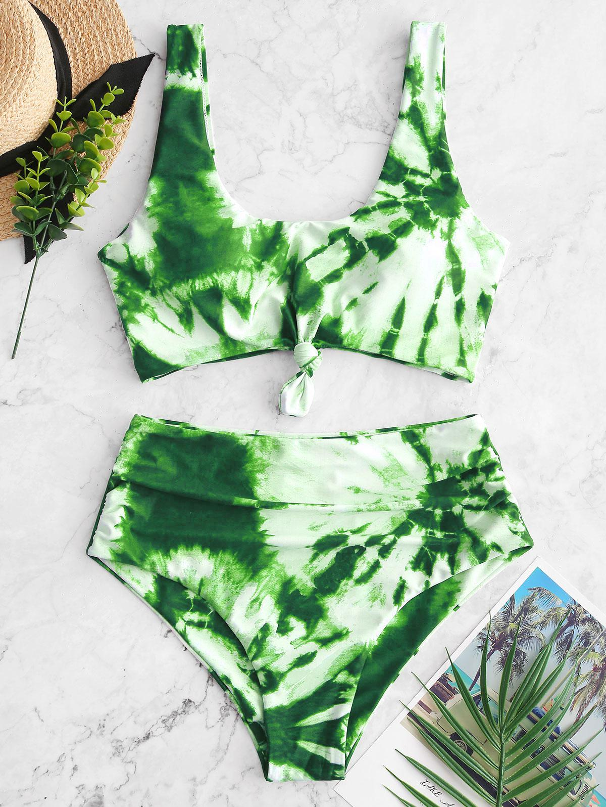 ZAFUL Tie Dye Knotted Tummy Control Tankini Swimsuit фото