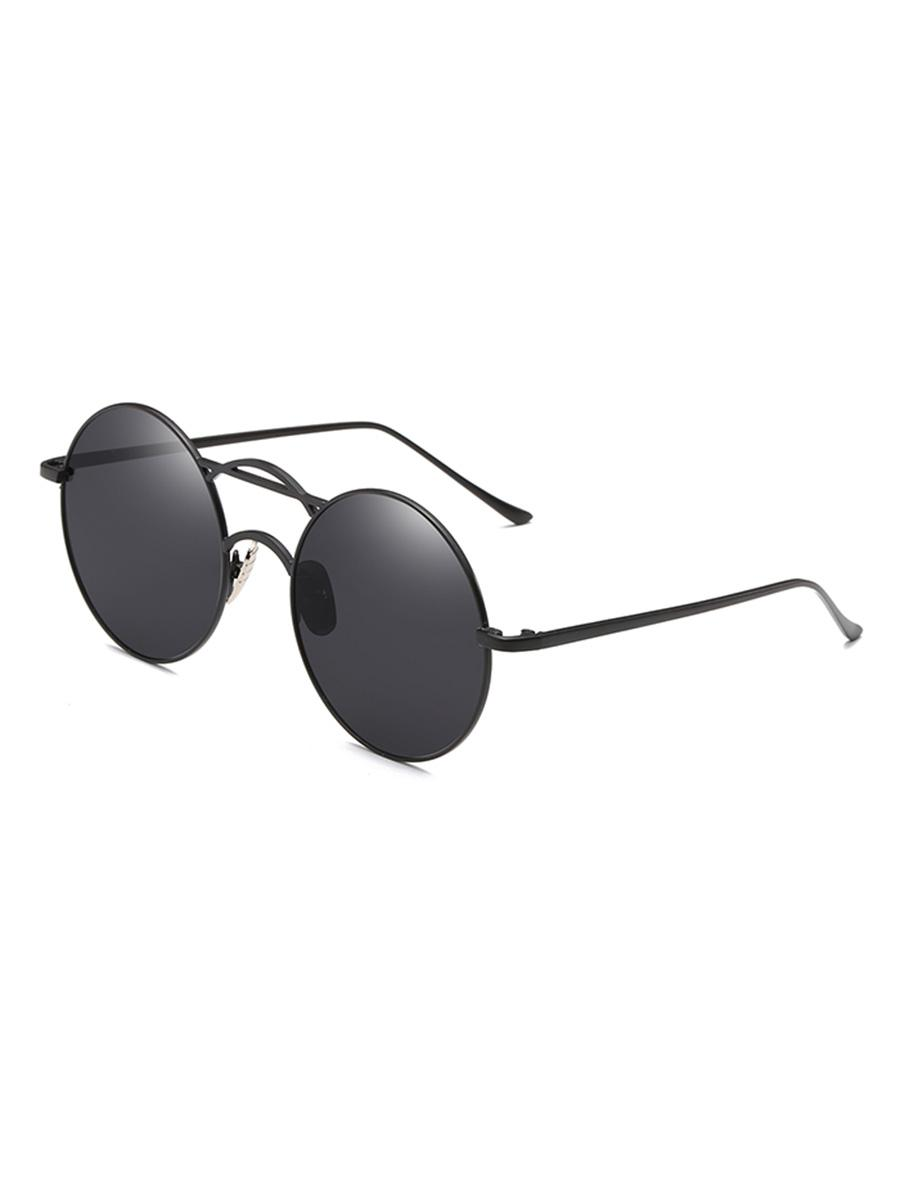 Round Fine Frame Retro Metal Sunglasses, Black