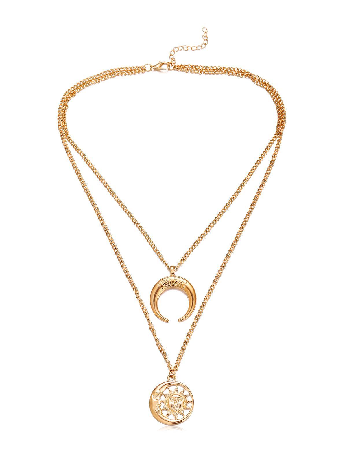 Crescent Moon Sun Pendant Necklace, Gold