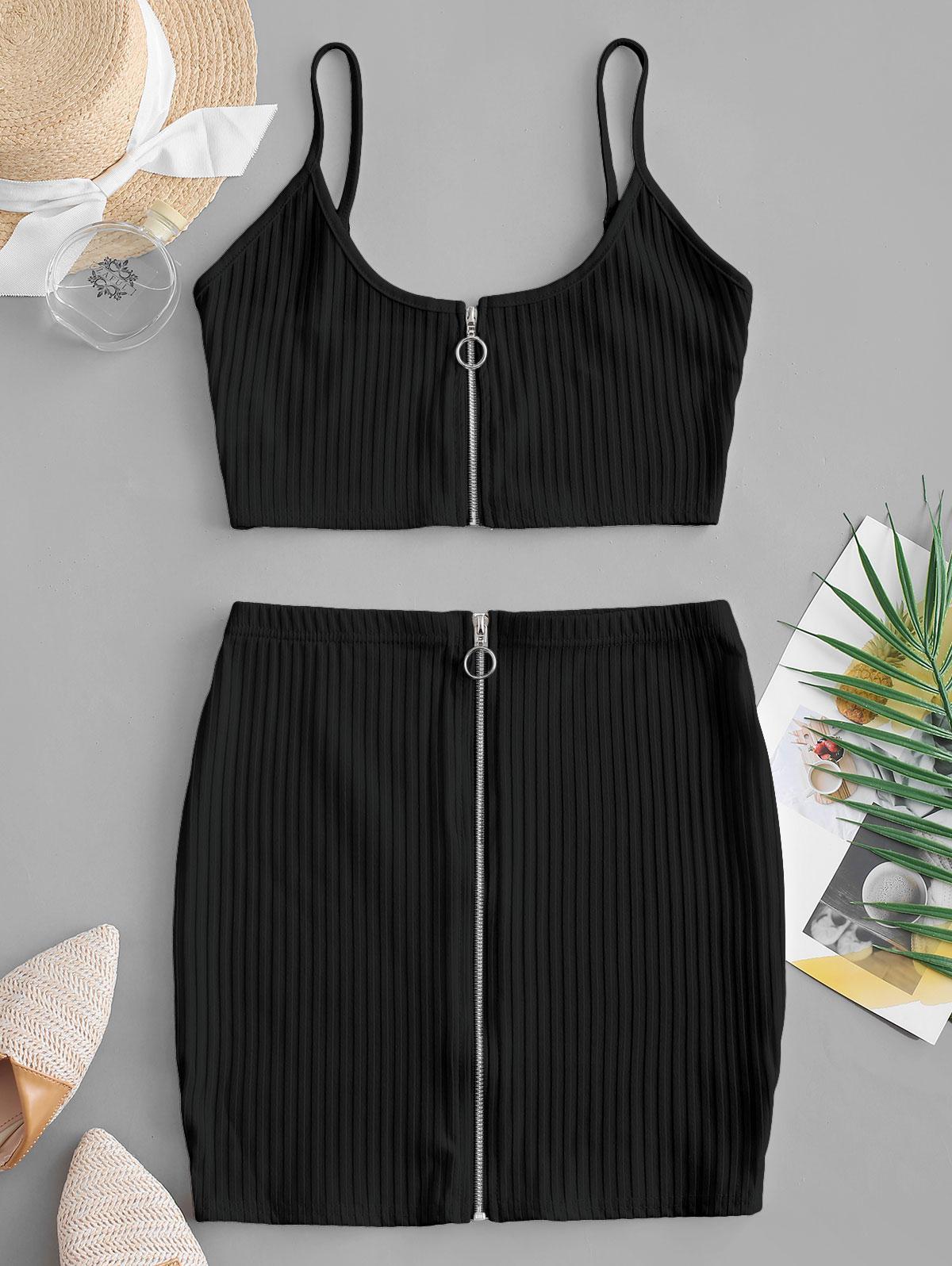 Zip Up Crop Top and Sheath Skirt Set thumbnail