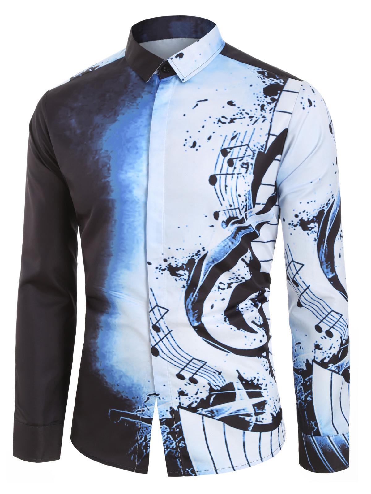 Musical Note Pattern Casual Long Sleeves Shirt thumbnail