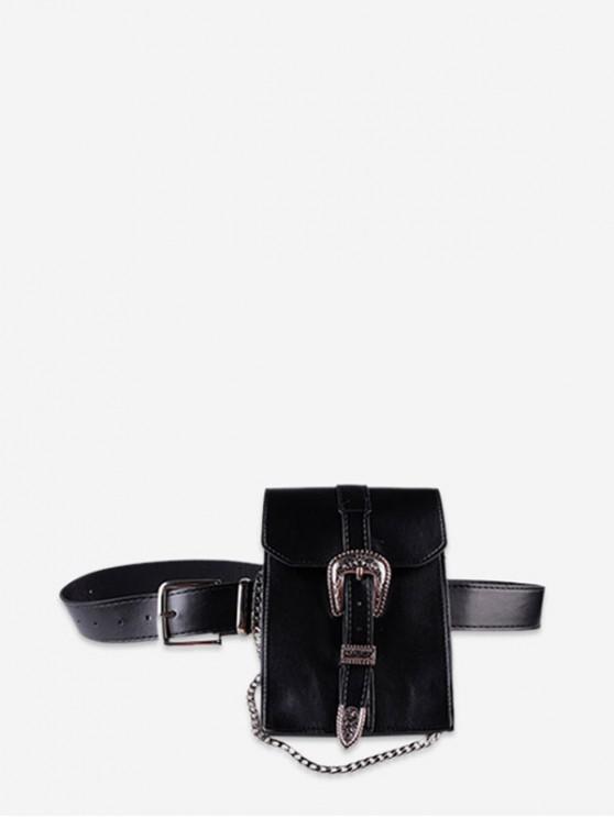 Borsa a tracolla in PU vintage con cintura - Nero