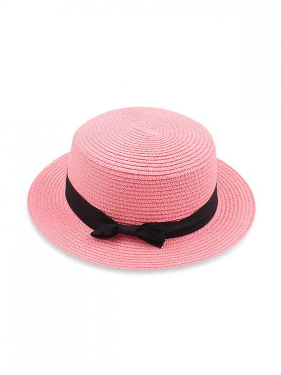 Cappello da sole di paglia piatta Bowknot - Rosa