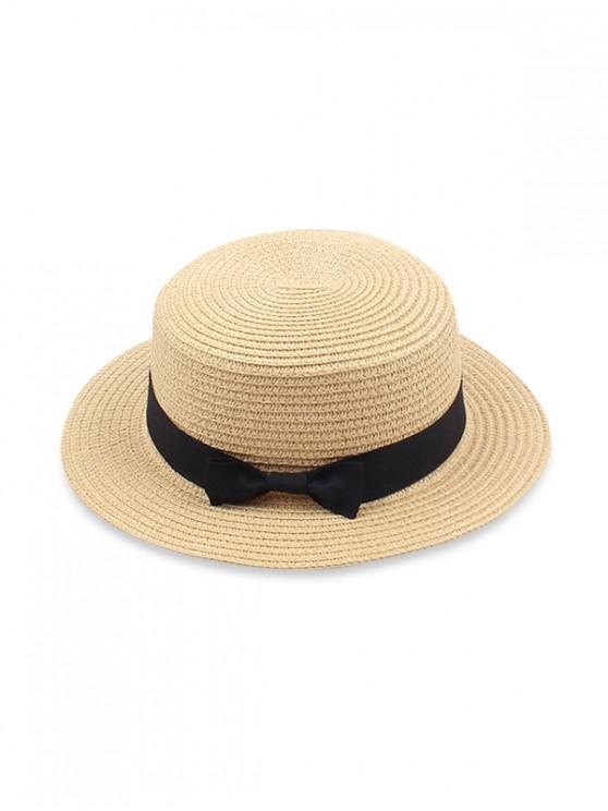 Cappello da sole di paglia piatta Bowknot - Giallo Pannochia