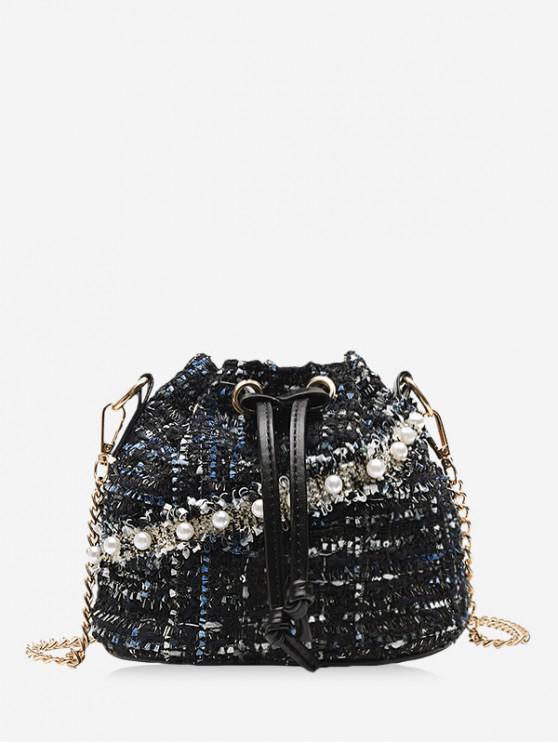 仿珍珠抽繩粗花呢水桶包 - 黑色