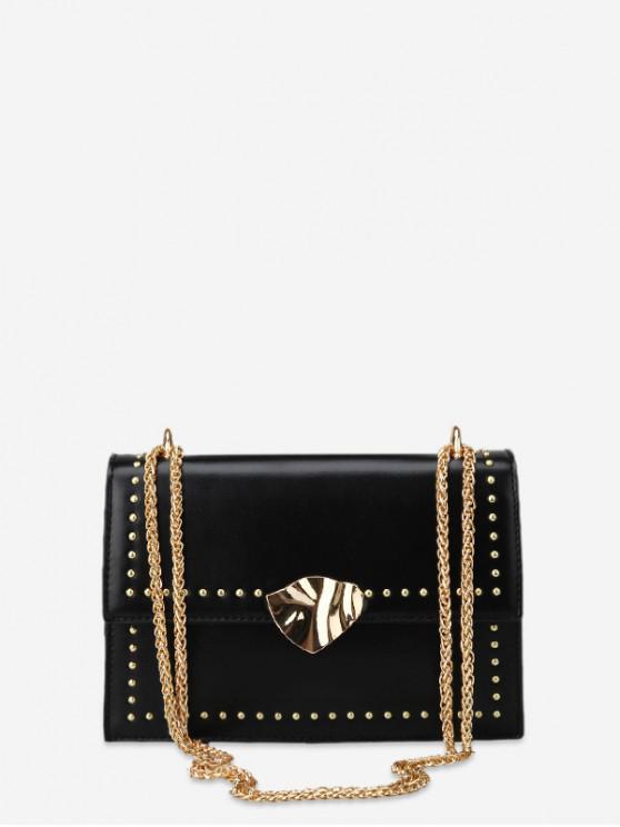 sale Square Crossbody Bag with Studs - BLACK