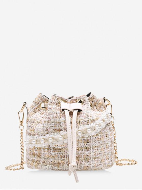 ladies Faux Pearl Drawstring Tweed Bucket Bag - WHITE