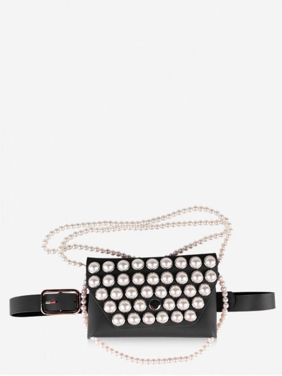 Borsa a tracolla con catena di perle finte con cintura - Nero