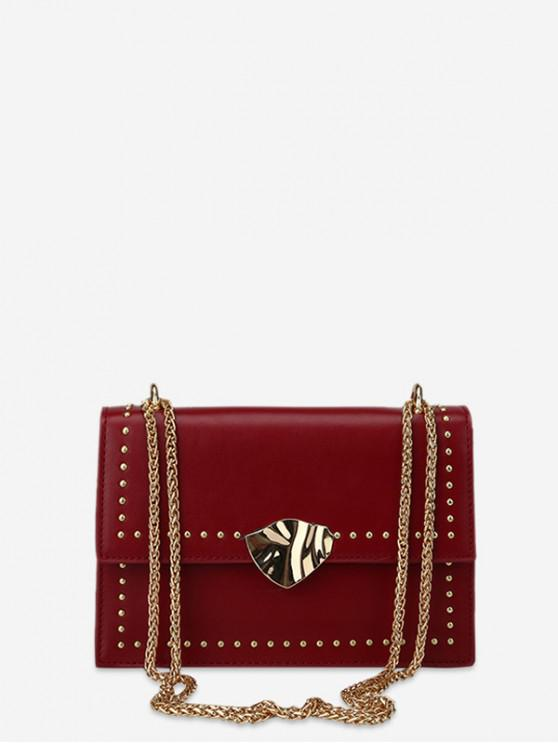 trendy Square Crossbody Bag with Studs - RED