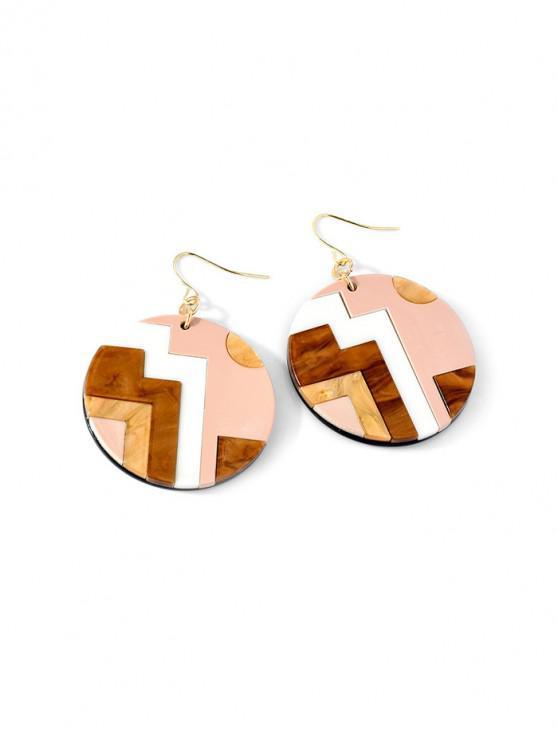 Orecchini pendenti acrilici tondi con motivo geometrico - Marrone Cammello