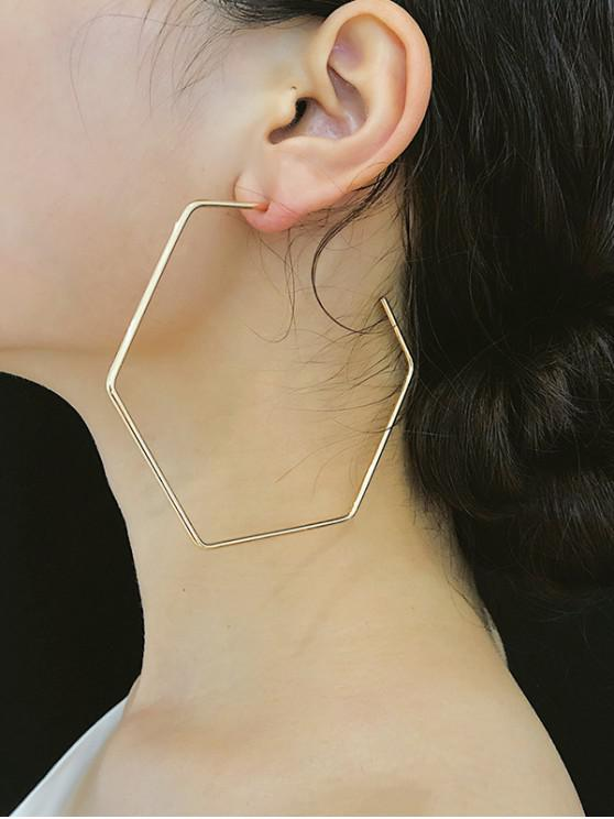 affordable Exaggerated Hexagonal Hoop Earrings - GOLD
